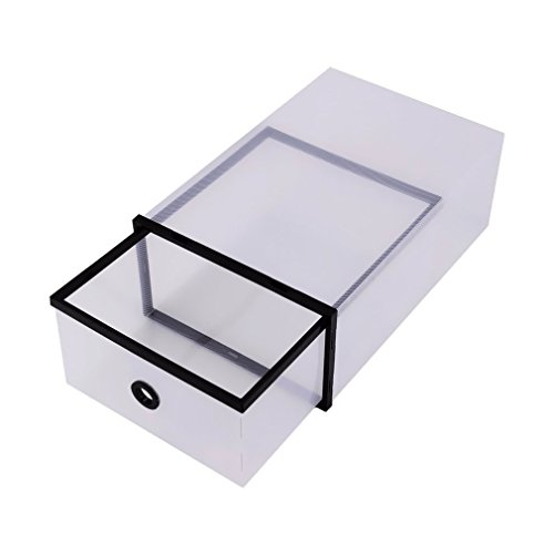 MK 2 Pc Folding Stacking Plastic Clear Shoe Box Set Case,Shoe Holder Box Drawers Organizer Space- Saving Shoe Storage Box-Assorted Color