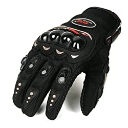 Kushagra Pro Biker Leather Motorcycle Gloves (Black, XL)