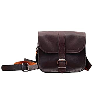 41RTusYANOL. SS324  - PAUL MARIUS L'ESSENTIEL tamaño pequeño, estilo vintage, pequeño bolso bandolera de cuero color marrón oscuro Vintage & Retro