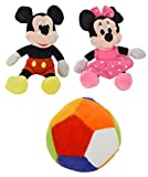 Chunmun Micky Mouse & Minnie Mouse Toy with Ball , Combo of 2 (Multi-Color)