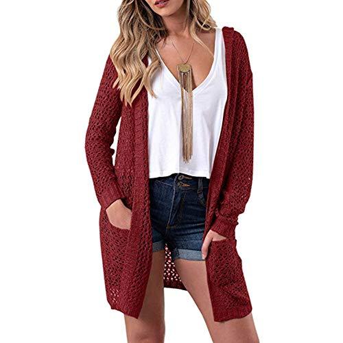 (MIRRAY Damen Solide mit Kapuze Langarm Strickwaren Open Front Cardigan Pullover Oberbekleidung)