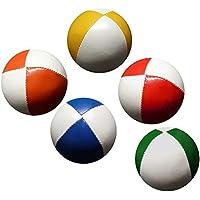 PassePasse Set 5 Malabares Pelotas de 62mm 90g Cada una (Bi-Color) Rojo y Blanco, Amarillo y Blanco, Azul y Blanco, Verde y Blanco, Naranja y Blanco