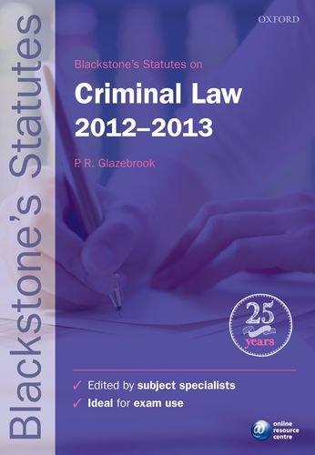 Blackstone's Statutes on Criminal Law 2012-2013 (Blackstone's Statute Series)