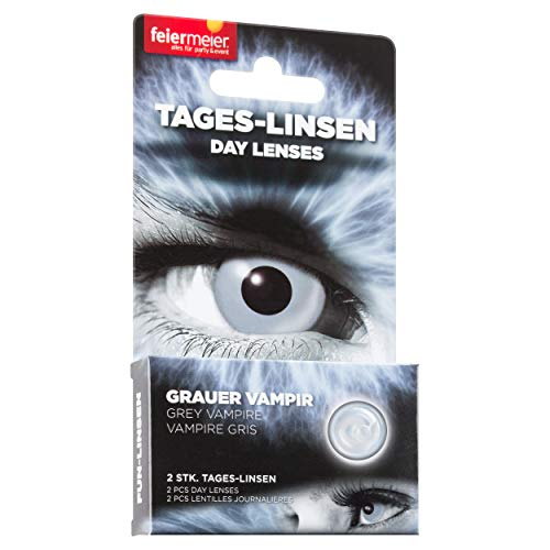 feiermeier® Kontaktlinsen (Tageslinsen) ohne Stärke (1 Paar = 2 Stk.) - für Halloween, Fasching & Co. (Grauer Vampier)