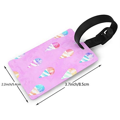 Watercolor Snow Cones Pink Luggage Tags travel Bag Tags Thick PVC 2.2 X 3.7 inch - Vintage Snow Cone