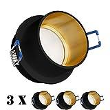 3er LED Einbaustrahler Set Schwarz/Gold mit 4000K LED GU10 Markenstrahler von LEDANDO - 5W - neutralweiss - 120° Abstrahlwinkel - 35W Ersatz - LED Spot 5 Watt - Einbauleuchte LED tageslichtweiss