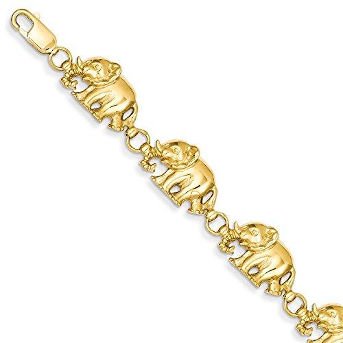 Pulsera de elefantes de oro amarillo de 14 quilates con corte de...