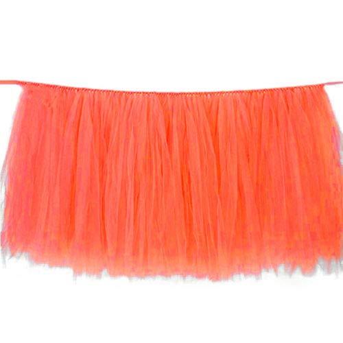 FidgetGear Tüll Tutu Tischrock, Geschirr, Hochzeit, Party, Weihnachten, Babyparty, Dekoration, Geschenk Coral Orange