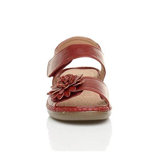 Para El Descuento Barato Donna tacco medio zeppa velcro fiore comode per camminare casual sandali numero 6 39 Gran Venta 3roVDjL