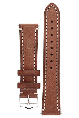Signature Father cinturino per orologio. Banda di ricambio per orologio. Pelle vera. Fibbia d'acciaio. (quercia, 18 mm - corto)