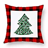 XINGSd Incomparable Merry Christmas Elk Christmas Tree Snowflake Plaid Pillow Covers Holiday Sofa Throw Cushion Case Xmas Decor(None 1345 * 45CM)