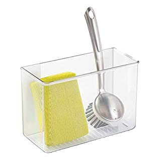 mDesign affixx Kitchen Organiser - Self-adhesive Storage Box for Detergent, Sponges etc. - Clever Kitchen Wall Storage - No Drilling Required - Clear
