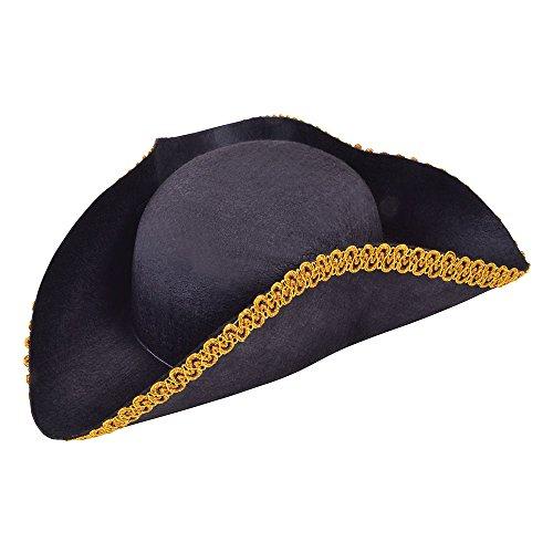 7Pirat Dreispitz Hut Filz mit Gold Einfassung, eine Größe (Mantel-und-degen-hut)
