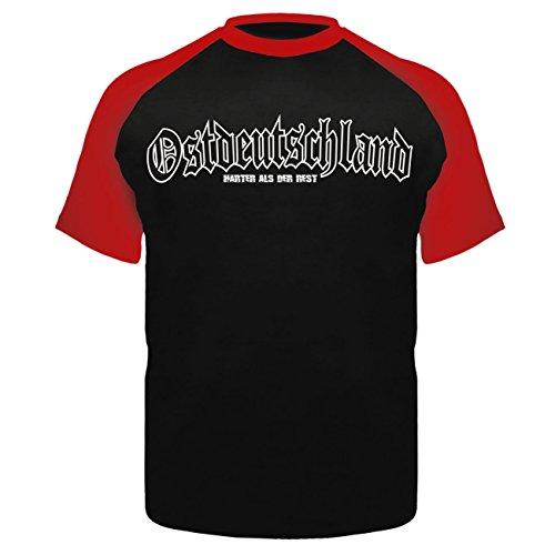 Männer und Herren T-Shirt Sachsen (mit Rückendruck) Schwarz/Rot
