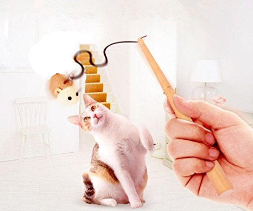 Pets Empire Cat Teaser Cat Kitten Toys Set - LukPaw Natural Sisal Wand Teasers With Mouse, Bell, Elastic String, And Sturdy Wood Rod - 1 Piece Color May Vary