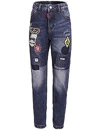 GULLIVER Pantalones vaqueros para niños, azul con parches, desgarrados, 7-10 años, 122-140 cm