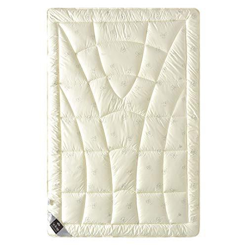 sei Design Wolle Bettdecke Wool Comfort mit feinste, äußerst bauschige echter Schurwolle gefüllt - Winterwarm 135x200