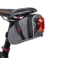 Tectri Saddle Bag for Bicycle, Bike Bag Strap-On Bike Seat Pack Bag Waterproof Zipper Wedge Pack for Cycling With LED Taillight Mesh Pocket Inside Lightweight