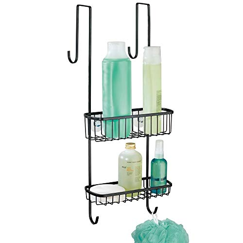 mDesign Organizador de ducha para colgar sobre la mampara – Práctico estante para ducha de metal resistente – Cesta de ducha sin taladro para los productos de higiene personal – negro mate