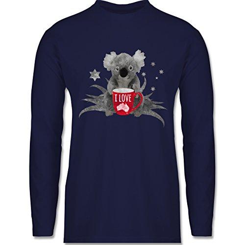 Shirtracer Kontinente - I Love Australien Koala - Herren Langarmshirt Navy Blau