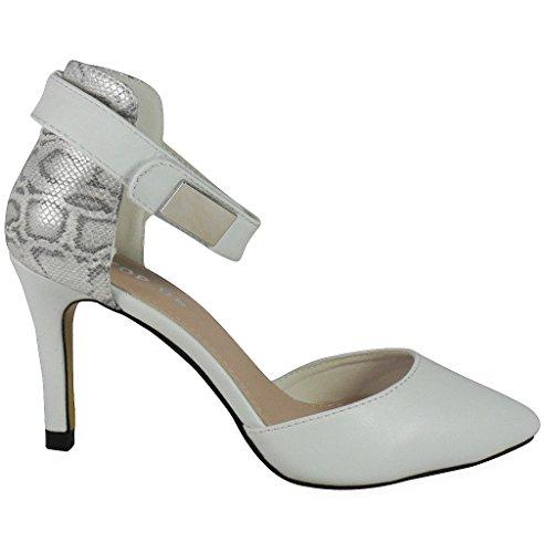 Loudlook Nouvelles Femmes Dames Haut Talon Aiguille Pointy Parti Going Out Chaussures De Travail Taille 3-8 White Pu