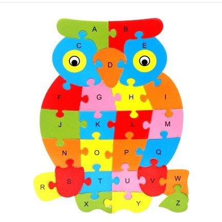 (Jun, 26 Teile Holzbuchstaben, Puzzle-Spielzeug, Alphabet aus Holz, Lernbuchstaben, Tierbuchstaben, Vorschul-Lernspielzeug, perfekt für Kinder, um Intelligenz zu entwickeln und dort lernen, Alphabet, Holzpuzzle Spielzeug für Kinder von 1-3 Jahren)