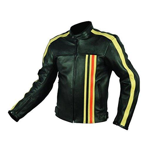 Rider-tec - Giacca da moto, in pelle, vintage, omologata CE-13595