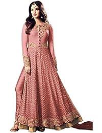Kings Fashion Bazaar Women Net Bollywood Designer Semi-Stitched Salwar Suit (GATMPU11054_Pink_Free Size)
