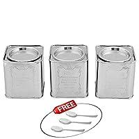 Kosma Lot de 3Pièces en acier inoxydable Thé Sucre Boîte à café (carré) à l'intérieur du Couvercle-10,2cm