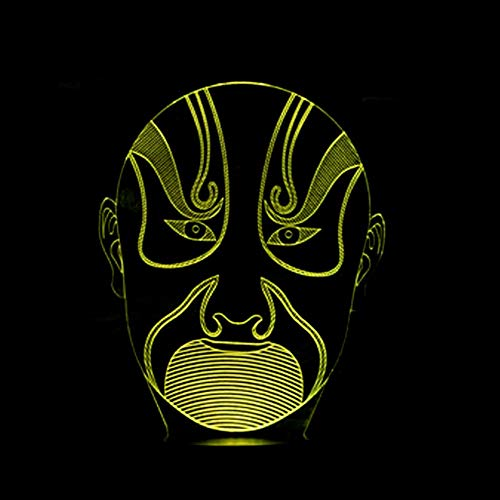 Máscara De Ópera De Pekín Luces De Noche En 3D Caras De Accesorios Luces De Noche En 3D Luces De Colores Luces Del Mercado Nocturno Luces Usb En Contacto Lámparas De Mesa Regalos