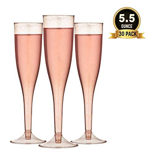 TOROTON 30 Einweg Plastik Sektgläser, 160ml Wiederverwendbar & Recyclebar Champagnergläser für Partys, Hochzeiten, Neujahrsfeiern - Rose Gold Glitter
