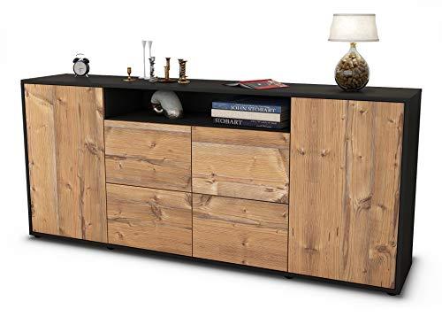Stil.Zeit Sideboard Ephenia/Korpus anthrazit matt/Front Holz-Design Pinie (180x79x35cm) Push-to-Open Technik