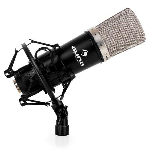auna CM003 Mikrofon - Studiomikrofon, Kondensatormikrofon, Nierencharakteristik, Frequenzbereich: 20 Hz - 20 kHz, schaltbarer Tiefpassfilter, einstellbare Empfindlichkeit, schwarz