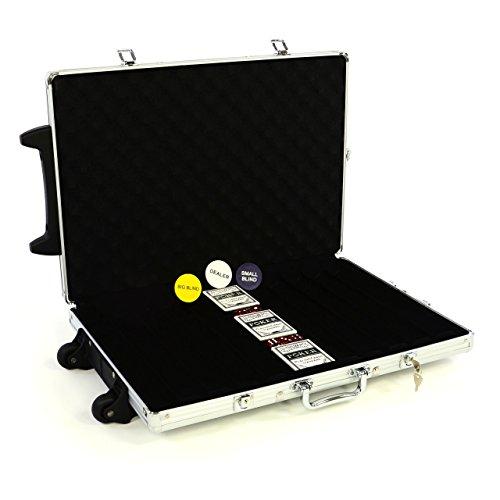 Nexos Poker-Koffer Trolley aus Aluminium gepolstert für bis zu 1000 Chips abschließbar gepolstert mit Zubehör Button, Casino-Würfel, 3x Pokerkarten aus Kunststoff