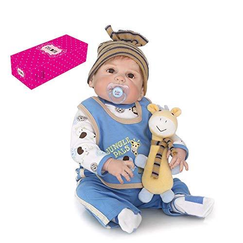 Decdeal 22 Pouces Reborn Baby Doll, poupées Mignonnes en Silicone réaliste pour Les Enfants en Bas âge, Anniversaire, Cadeaux de Douche avec des vêtements Mignons