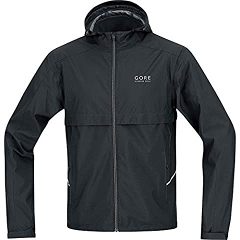 GORE RUNNING WEAR, Homme, Veste de course à capuche, manches amovibles, GORE WINDSTOPPER Active Shell, ESSENTIAL WS AS Zip-Off, Taille L, Noir, JWESSO990005