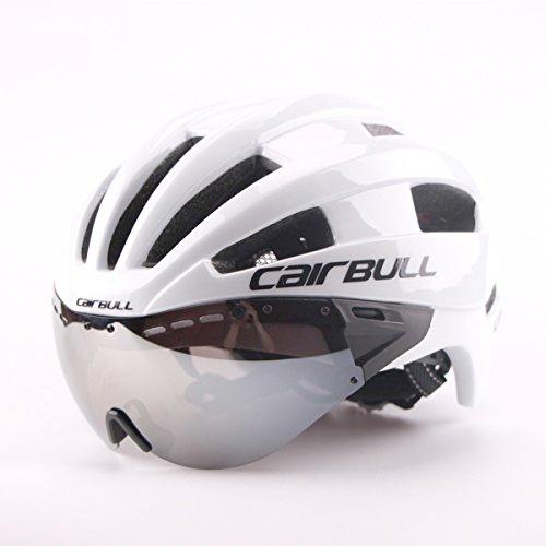 Cairbull Specialized Fahrradhelm mit Abnehmbarer Visier-Schutzbrille Integral Fahrradhelm Erwachsenen Fahrradhelm mit Abnehmbarem Schild Visier, Weiß, Size:M(54-58cm)