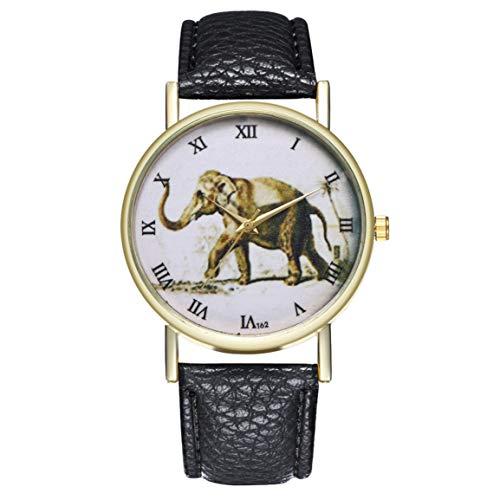 Fantasyworld estrenar del Cuero beneficioso T62 Elefante de la Correa de la Manera del Reloj de Cuarzo de Moda Populares en Niza