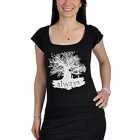 T-shirt Harry Potter Always - Snape & Lily Professeur Rogue - pour dame - noir - XL