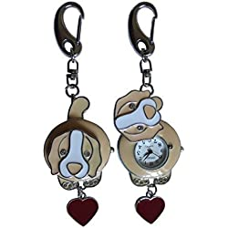 Beige Dog FOB Pocket Watch For Doctors Nurses Paramedics Chefs & Extra Battery