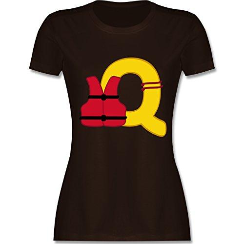 Anfangsbuchstaben - Q Schifffahrt - tailliertes Premium T-Shirt mit Rundhalsausschnitt für Damen Braun