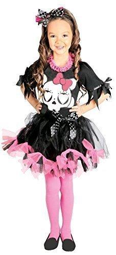 Mädchen Rosa Totenkopf Skelett Tutu Zuckerschädel Tag Der Toten Halloween Kostüm Kleid Outfit 5-12 jahre - Rosa, 5-6 years