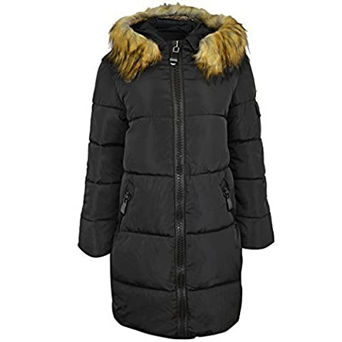 Womens Ladies Quilted Long Winter Coat Padded Puffer Fur Collar Hooded Jacket Size