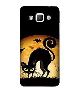 PrintVisa Designer Back Case Cover for Samsung Galaxy Grand 3 :: Samsung Galaxy Grand Max G720F (Cartoons Cat Bats Ghost Frightening )