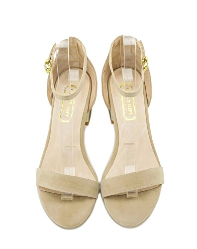 XY&GKStilvoll elegante Metallic grob mit einer Schnalle Sandalen Frauen Sommer Toe die Ferse Frauen Sandalen, komfortabel und schön 40 apricot
