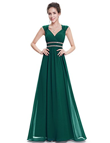 Ever Pretty Damen Elegant V-Ausschnitt Ärmellos Lang Abendkleid 42 Größe Dunkel Grün