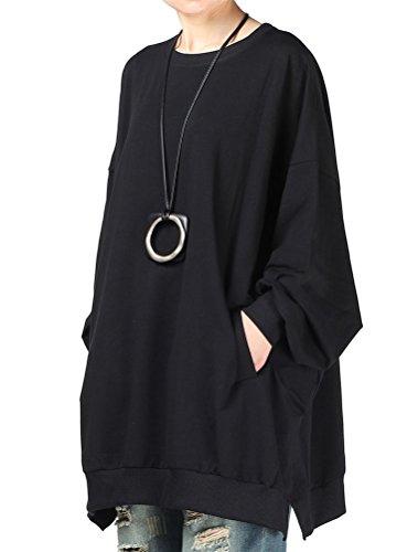 Mallimoda donna primavera girocollo felpa manica lunga pullover top nero xl