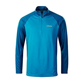 Berghaus Men's Tech 2.0 Zip Neck Longsleeve T-Shirt, Adriatic/Snorkel Blue, 2X-Large