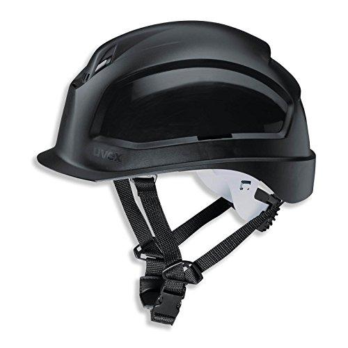 UVEX Schutzhelm pheos S-KR - Arbeitsschutz-Helm mit BG Bau Förderung - EN 397, Farbe:schwarz (Schutzhelm Mit Kinnriemen)