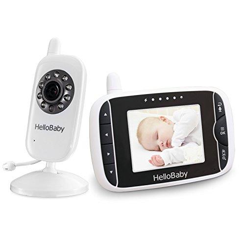 HelloBaby Monitor Video sin Hilos del Bebé de con la Cámara de Digitaces, Supervisión de la Temperatura de la Visión Nocturna y Sistema de la Manera 2 Talkback (HB28W)